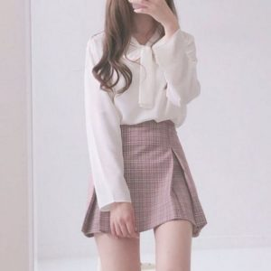 Cute Korean Outfits - plaid skirt